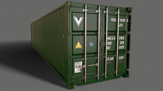 PBR 40 ft Shipping Cargo Container - Green Dark