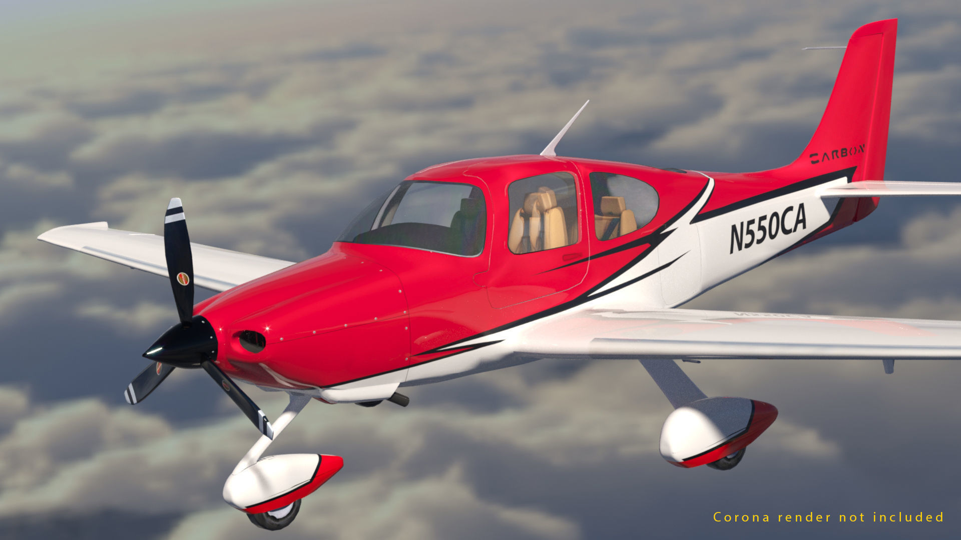 Cirrus SR 22 high detailed model low poly