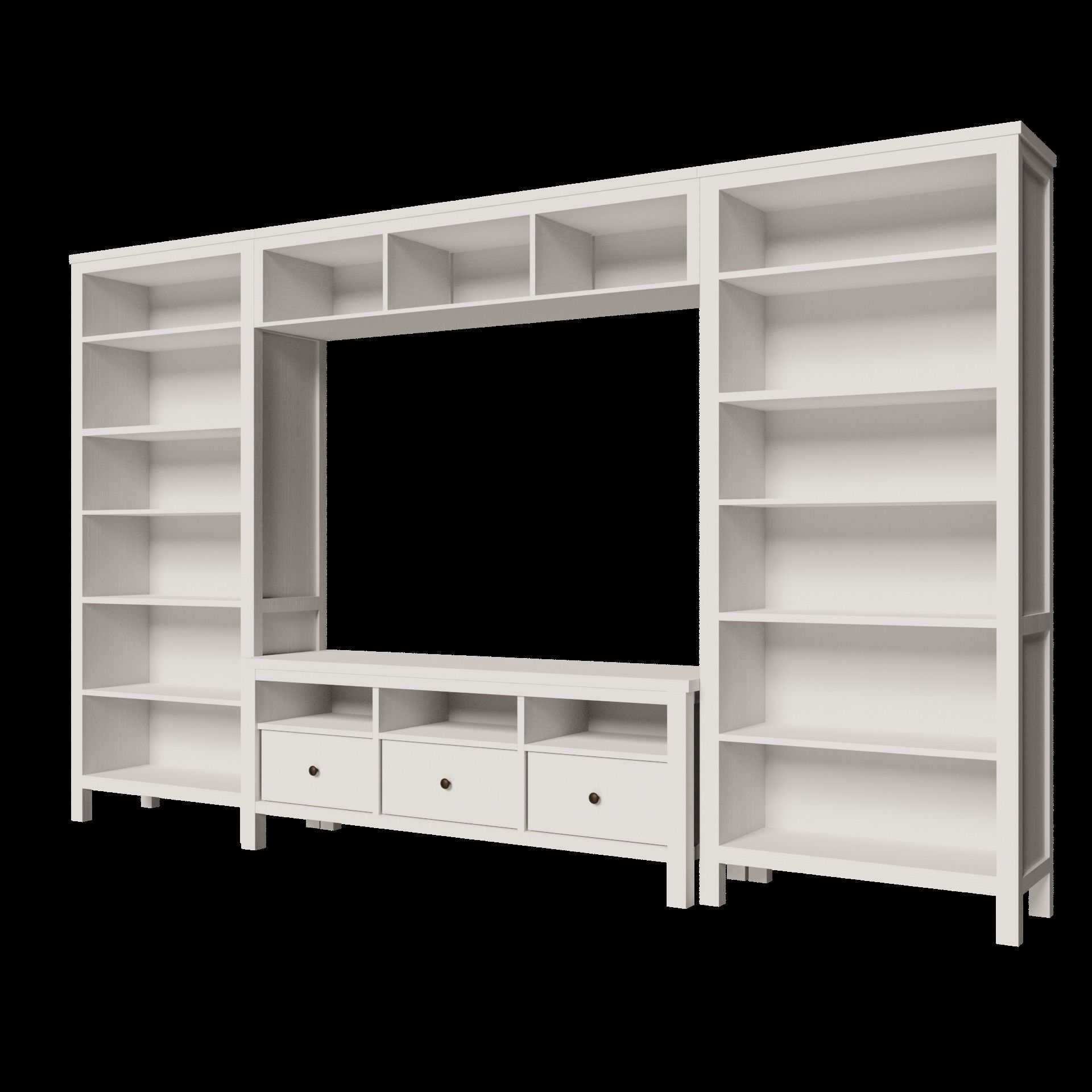 3d model ikea hemnes tv storage unit cabinets shelfs 2