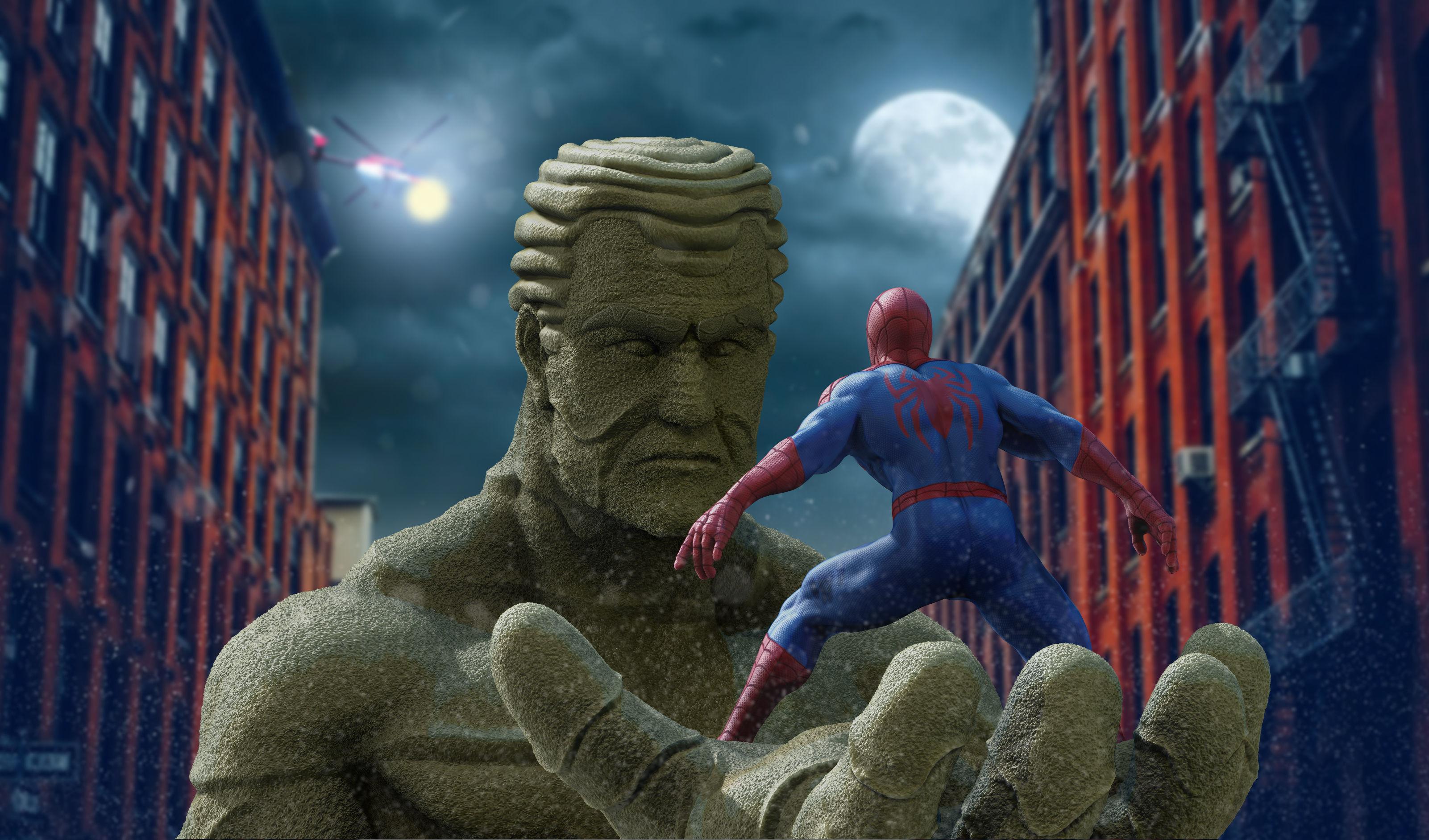 3D print model Spiderman vs Sandman | CGTrader