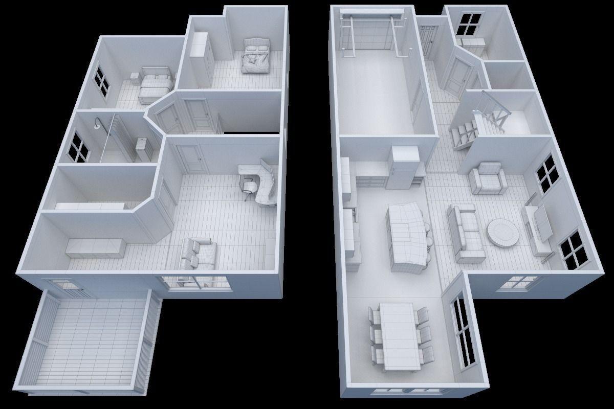 3d model house floor plan non textured version vr for House plan 3d model