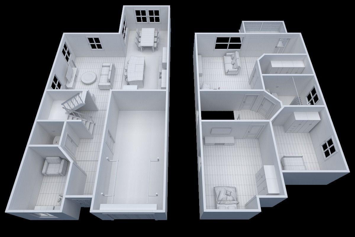 3d Model House Floor Plan Non Textured Version Vr