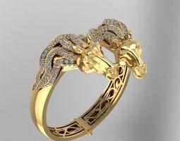 3d print model horse face precious bangle bracelet