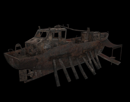low-poly 3d asset old fishing boat PBR