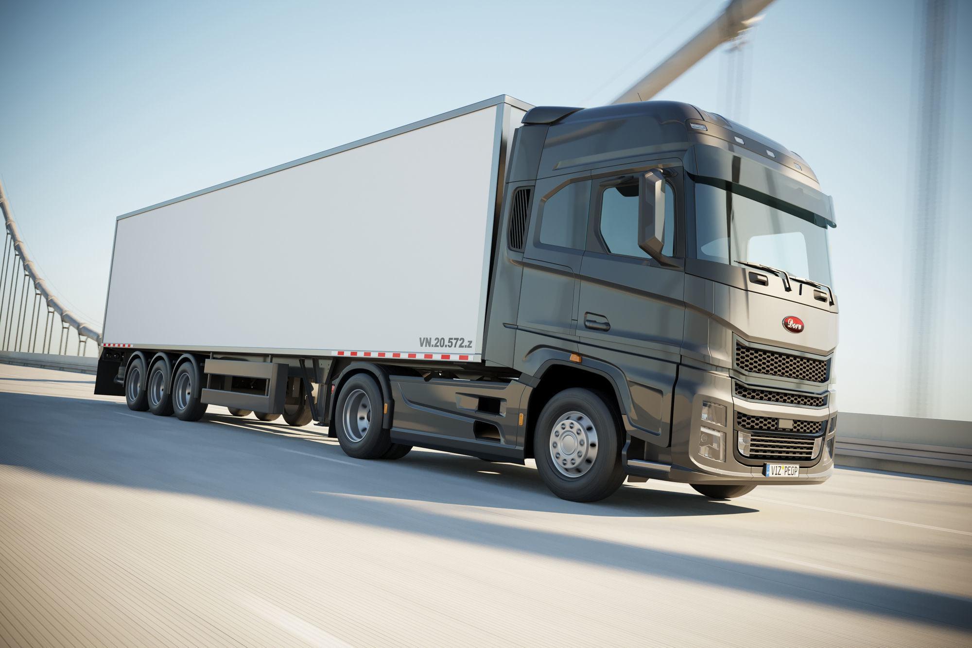 Semi truck with white trailer