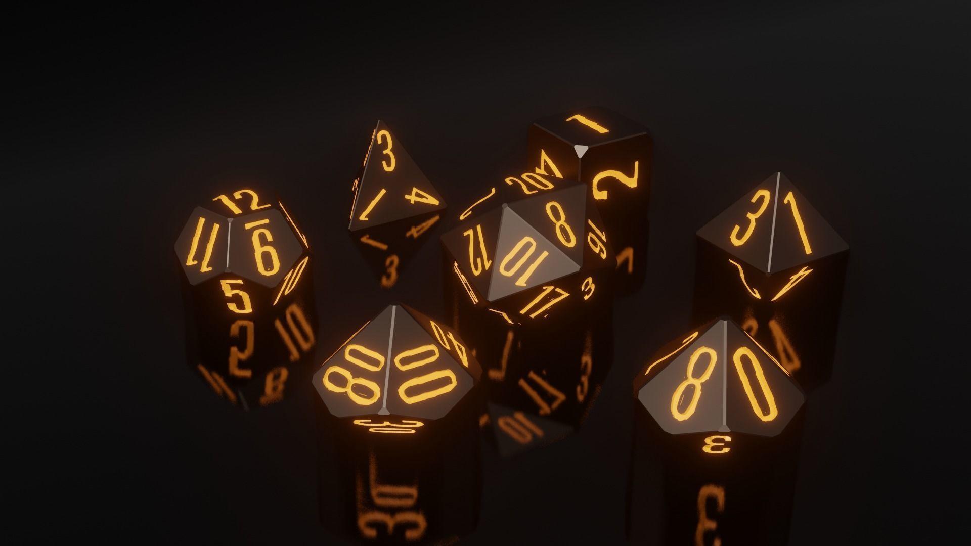 RPG Polyhedral Dice Set Wood Carved Style