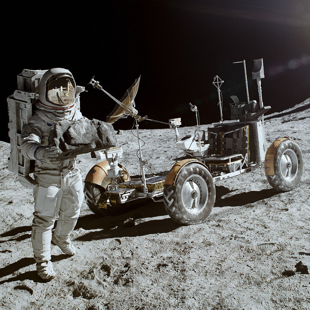 Rover Apollo Lunar Space on the Moon Ground Surface Mars