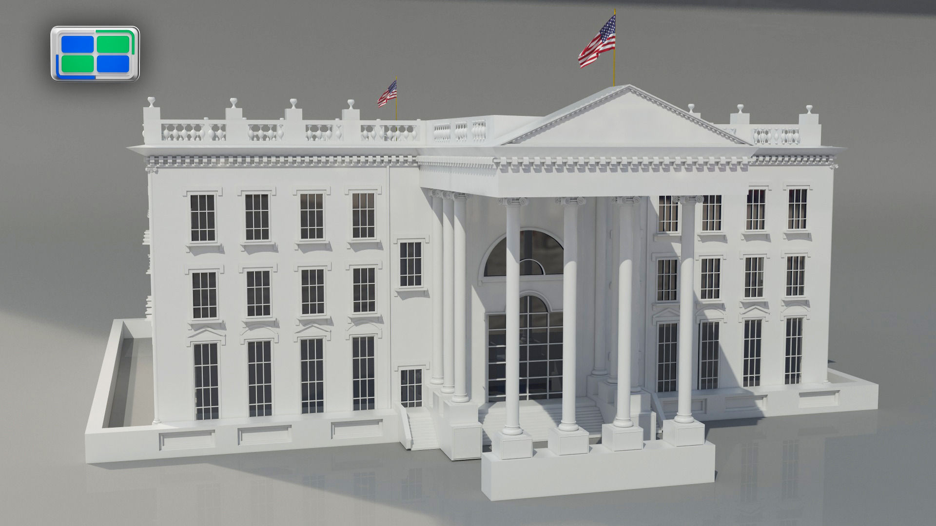 White house 3d model animated max - 3d printed house usa ...
