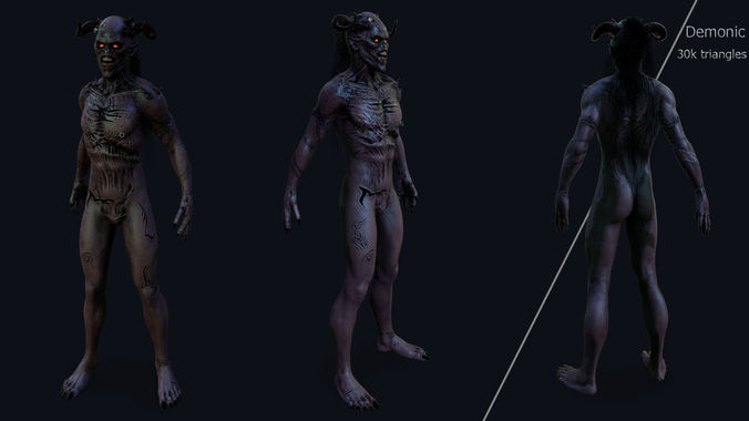 demonic 3d model low-poly rigged animated fbx tga 1