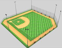 Baseball stadium pitch diamond low poly 3D asset