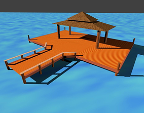 Wooden Hut on Water 3D model