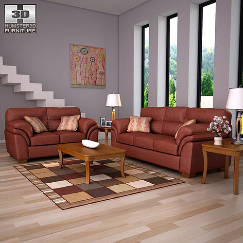 3d model ashley hudson chianti sofa loveseat living room. Black Bedroom Furniture Sets. Home Design Ideas