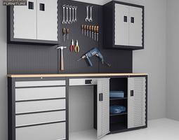 garage 03 set furniture and tools realtime 3d asset
