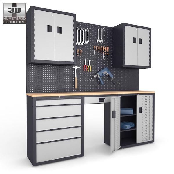 garage 03 set furniture and tools 3d model max obj 3ds fbx c4d