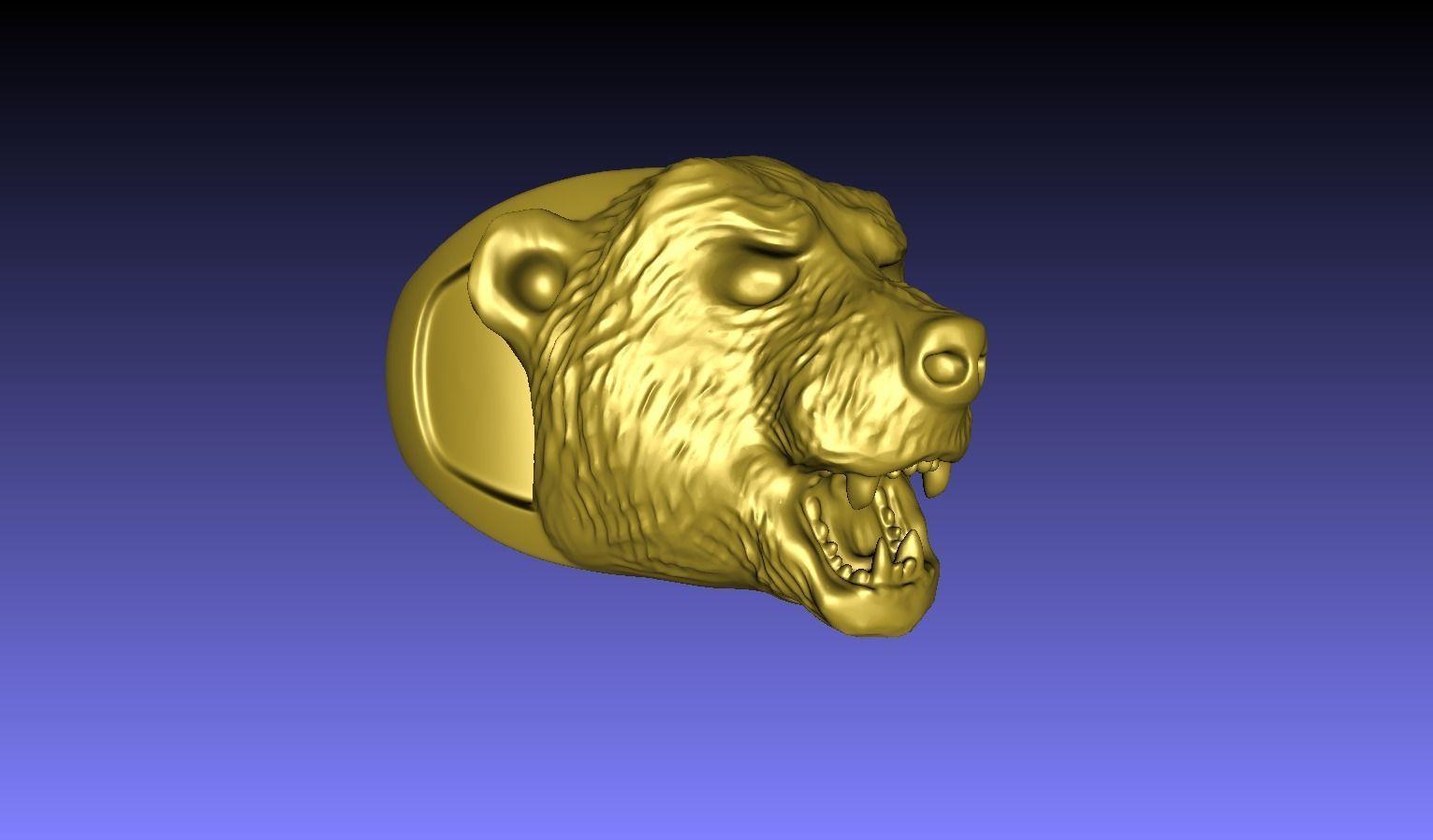aggressive bear face ring