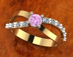 Elegant diamond ring 3D printable model