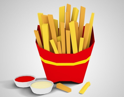 3d model lowpoly french fries game-ready