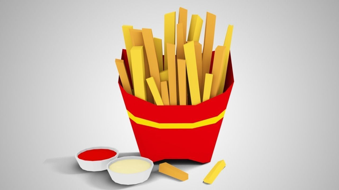 lowpoly french fries 3d model low-poly obj mtl 3ds fbx blend 1