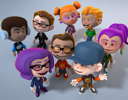 VR / AR ready 3d asset 8 animated cartoon characters