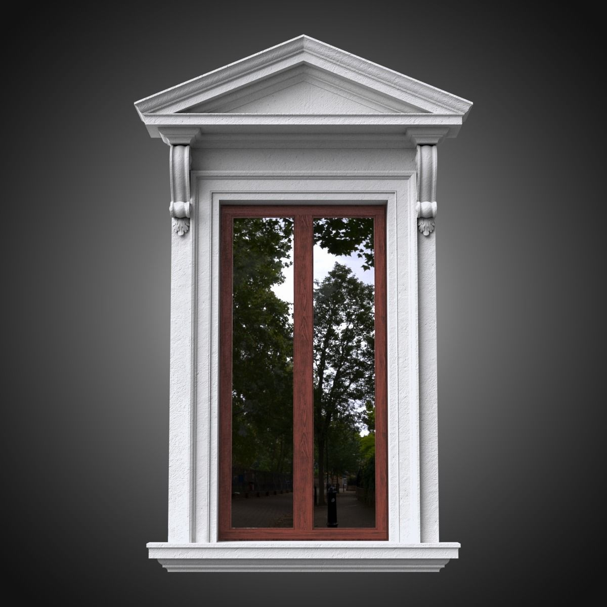 Classical window with pointed pediment