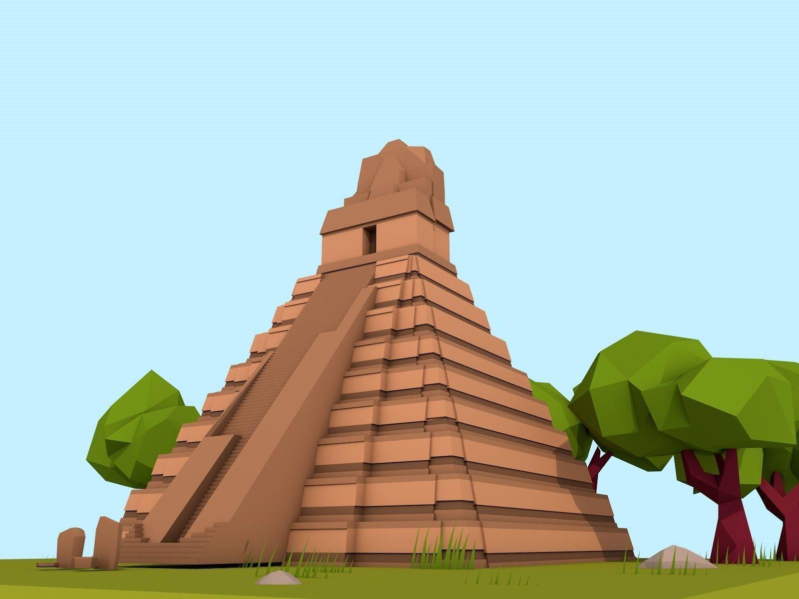 Cartoon Low Poly The Great Jaguar Tikal Temple