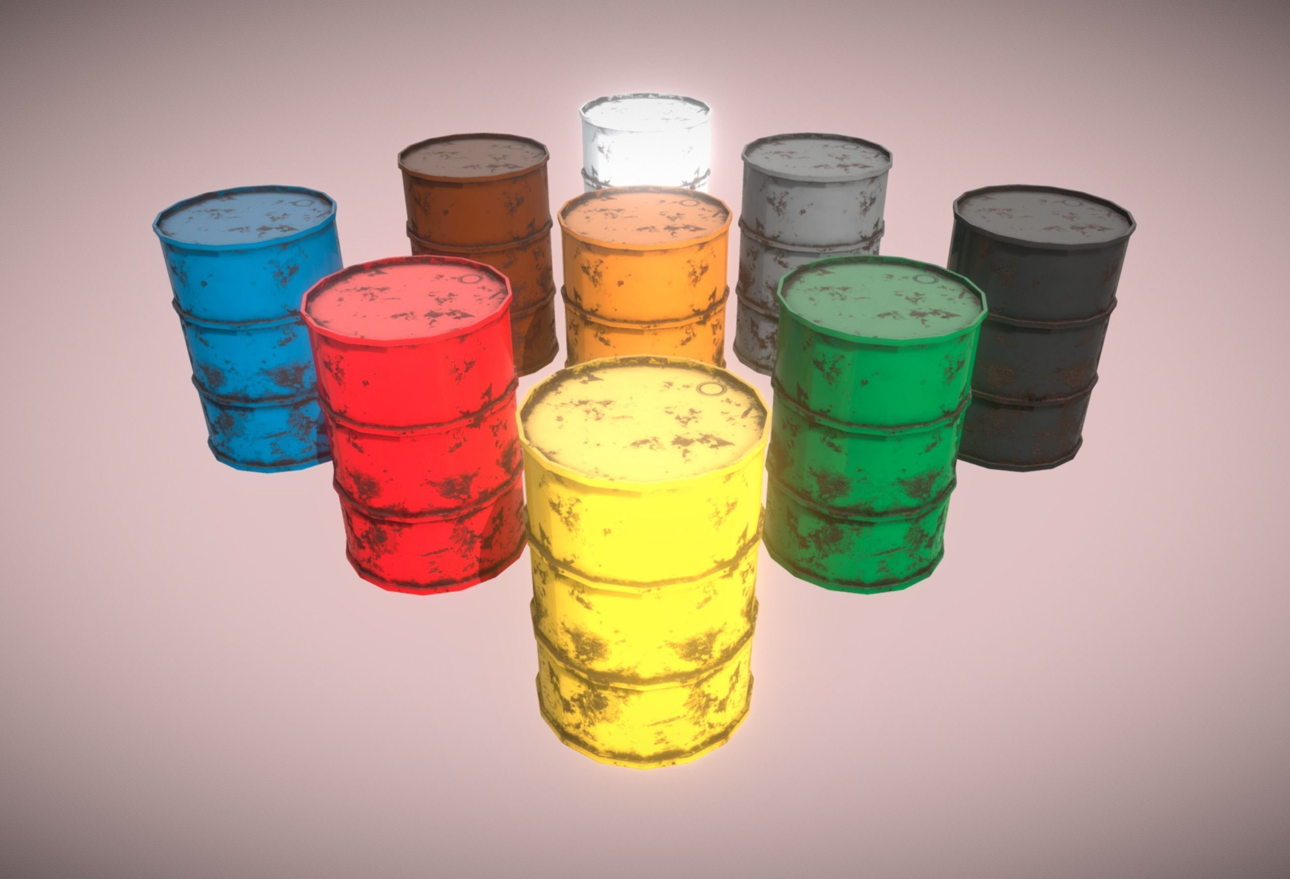 9 Color Barrels Rusty VR AR Low-Poly PBR