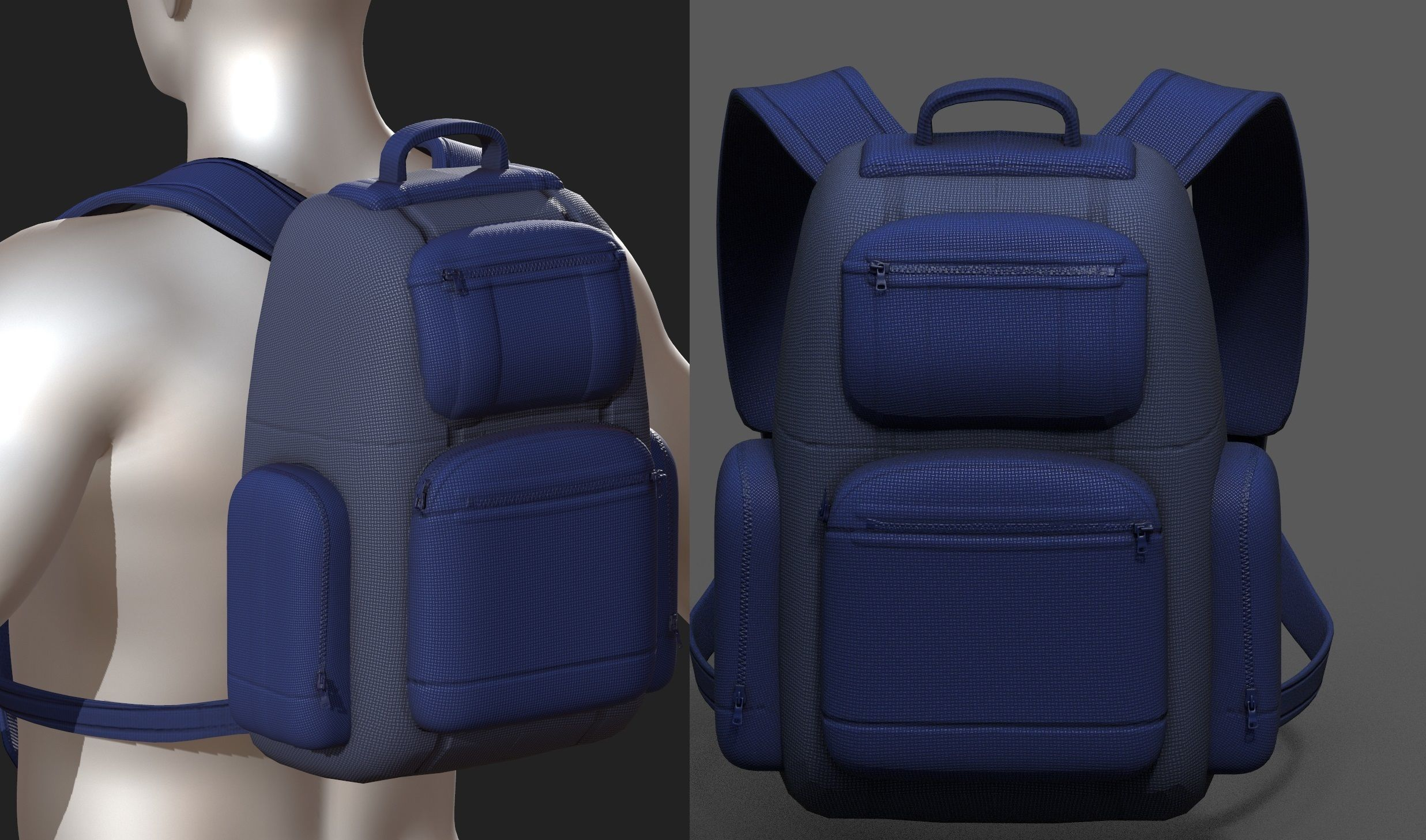Backpack Camping Generic military Black baggage Low-poly
