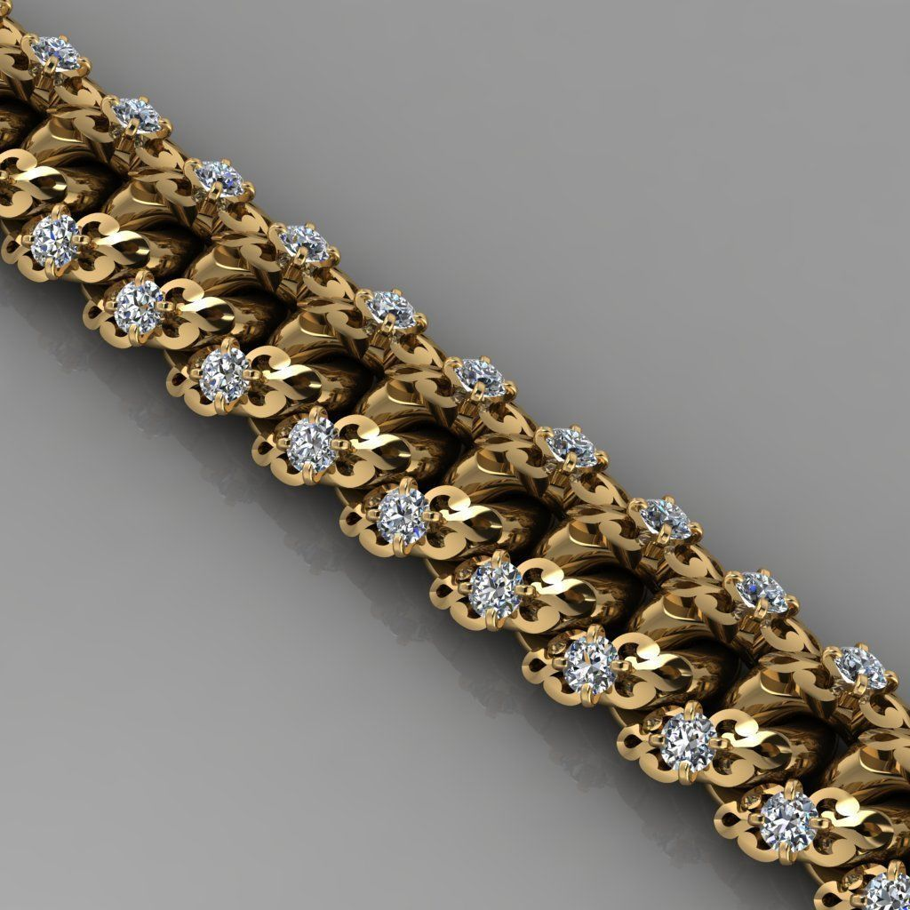 Miami cuban link chain bracelet with an ornament and gems 0139