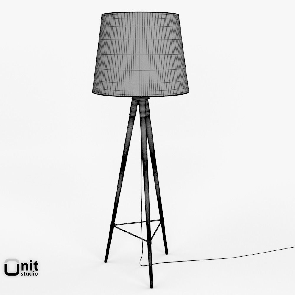 midcentury tripod floor lamp by west elm 3d model max obj 3ds fbx dwg