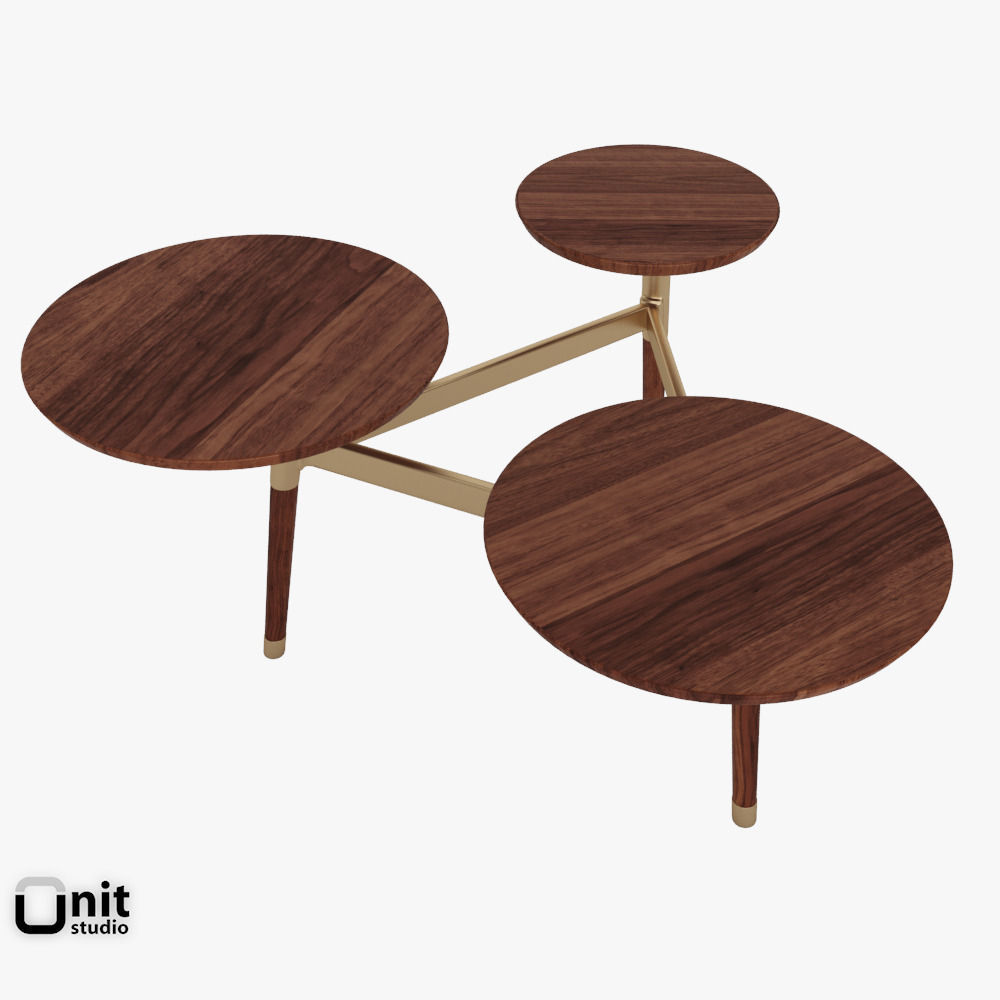 ... Clover Coffee Table By West Elm 3d Model Max Obj 3ds Fbx Dwg  Unitypackage 4 ...