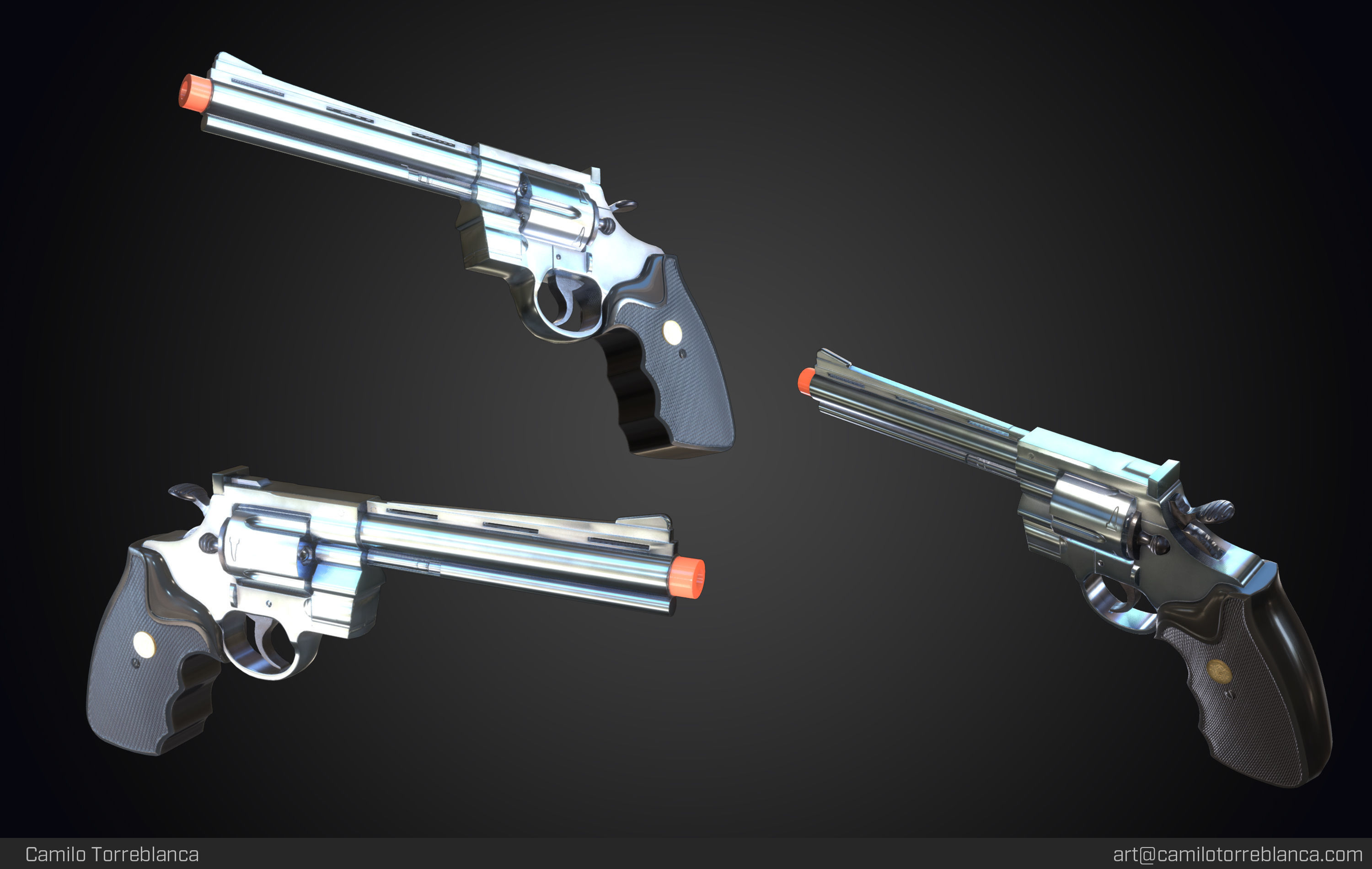 Magnum 357 Revolver Gun Weapon 3D PBR Game Ready Low Poly
