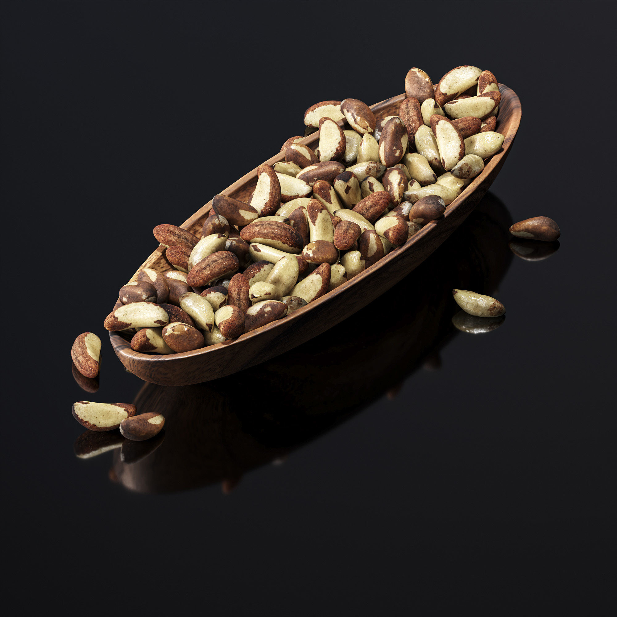 Brazil nuts in a wooden nut bowl