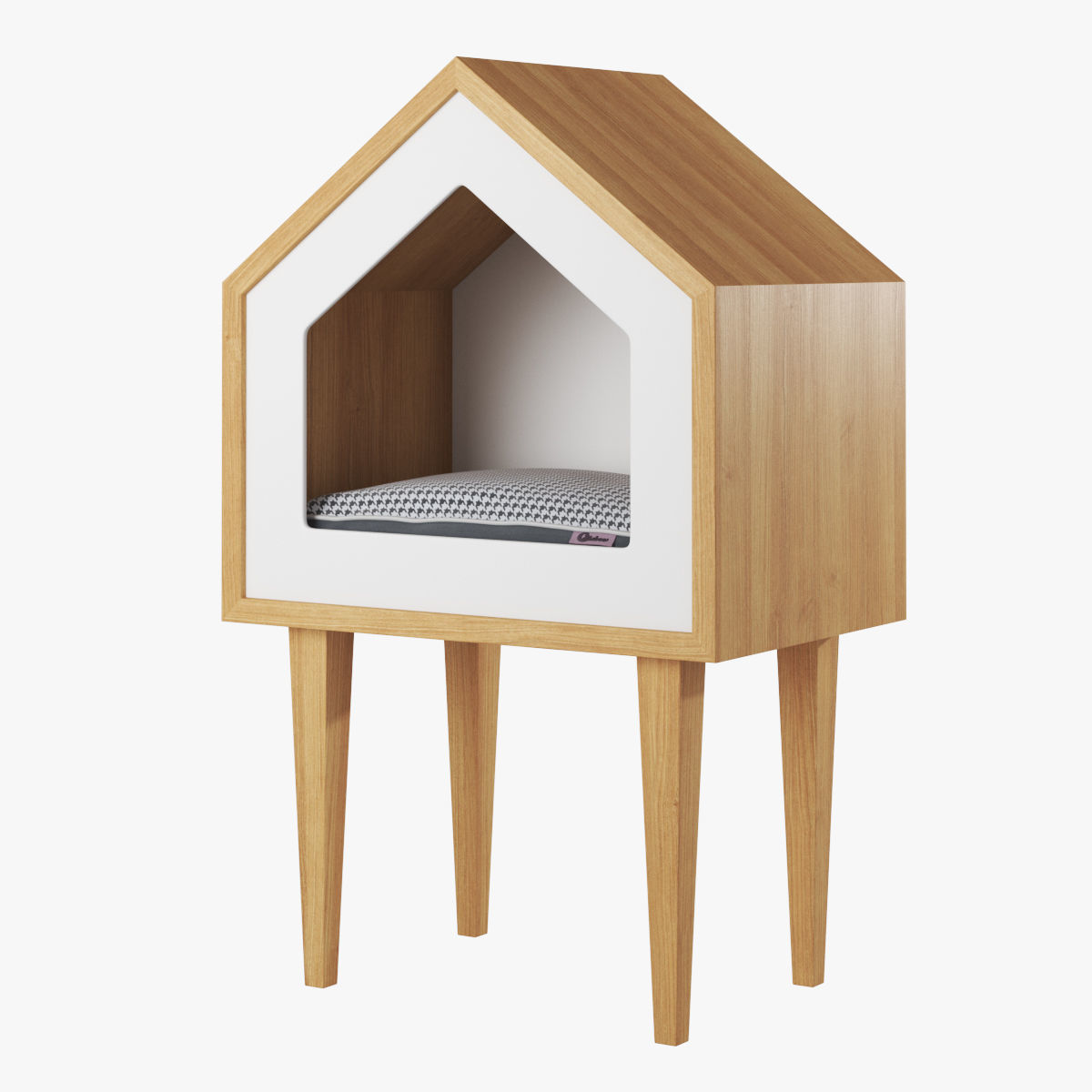 Oak wood cat house