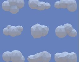 low poly clouds pack game-ready 3d model