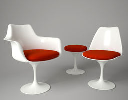 tulip chair and armchair 3d model max obj fbx