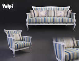 volpi matilde sofa and armchair 3d