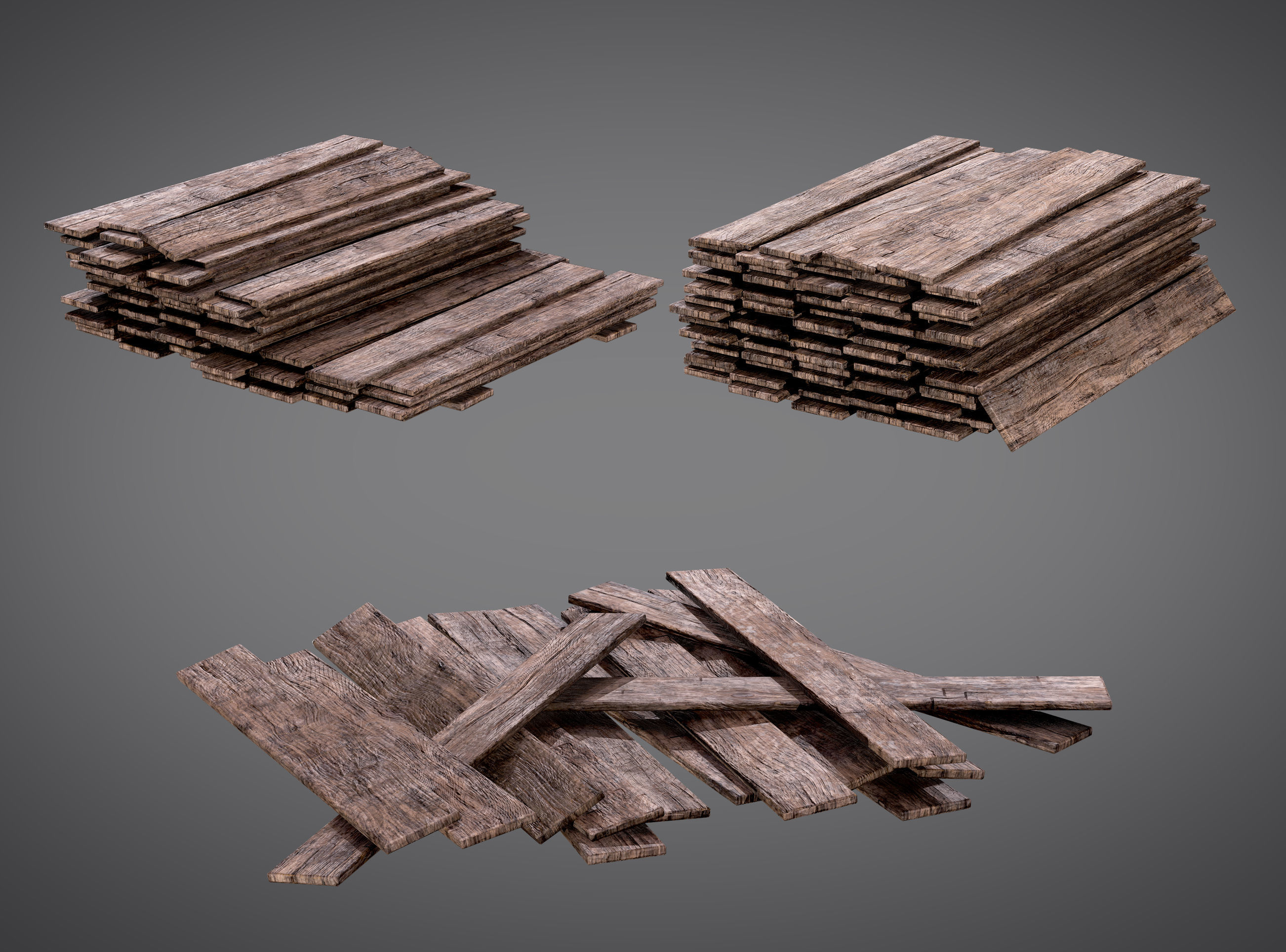 Cutted Wood Stacks Planks AAA PBR Game Ready Asset