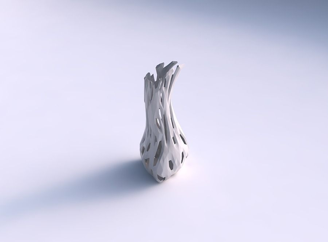 Vase Puffy Bent Triangle With Faceted Cuts 3d Model 3d Printable Max