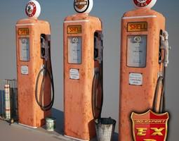 Gas station parts 3D model