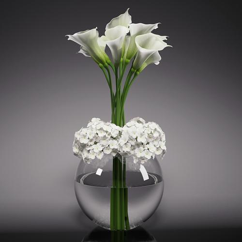 calla lily  hydrangeas arrangements 3d model max fbx 1
