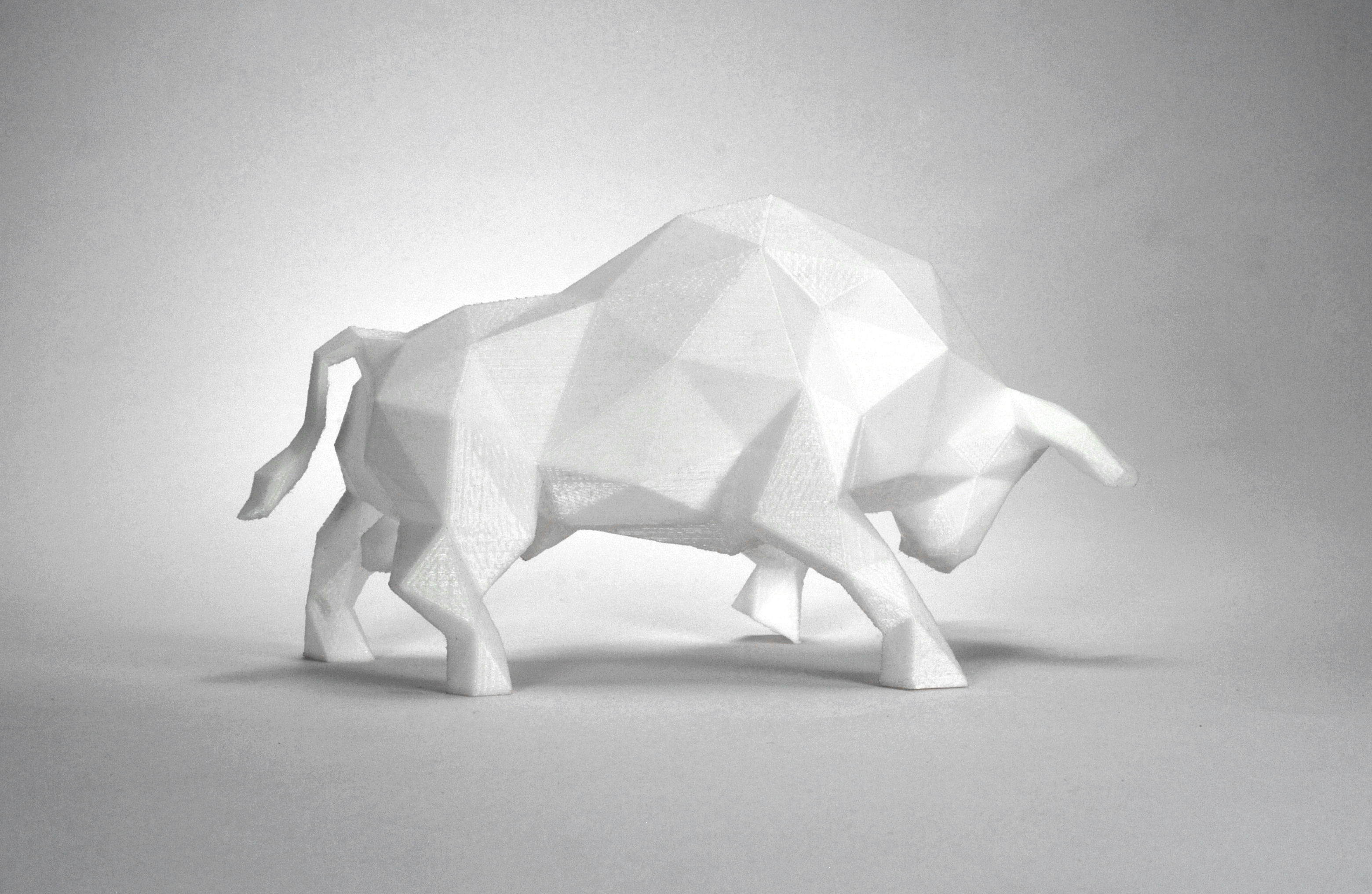 Low Poly Bull Sculpture