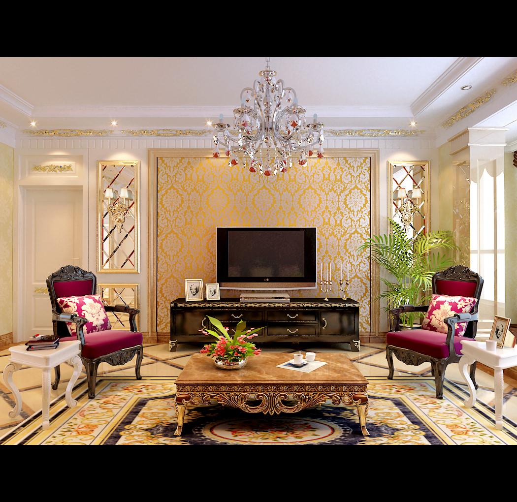 posh living room 3d model max. Black Bedroom Furniture Sets. Home Design Ideas