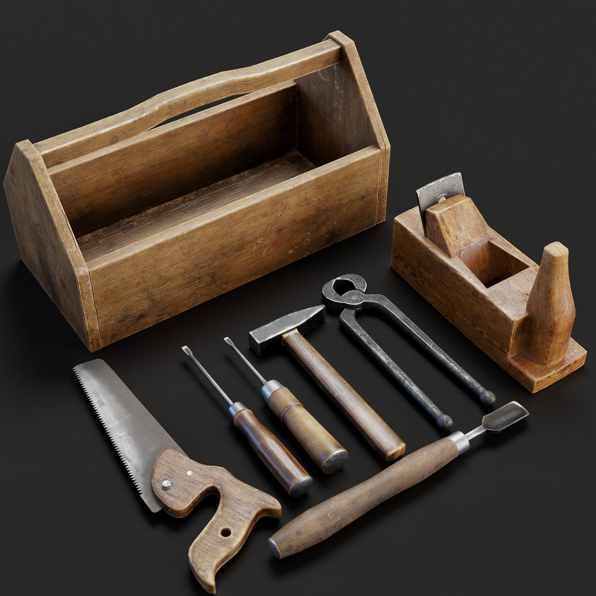 Set of old hand tools 3d model