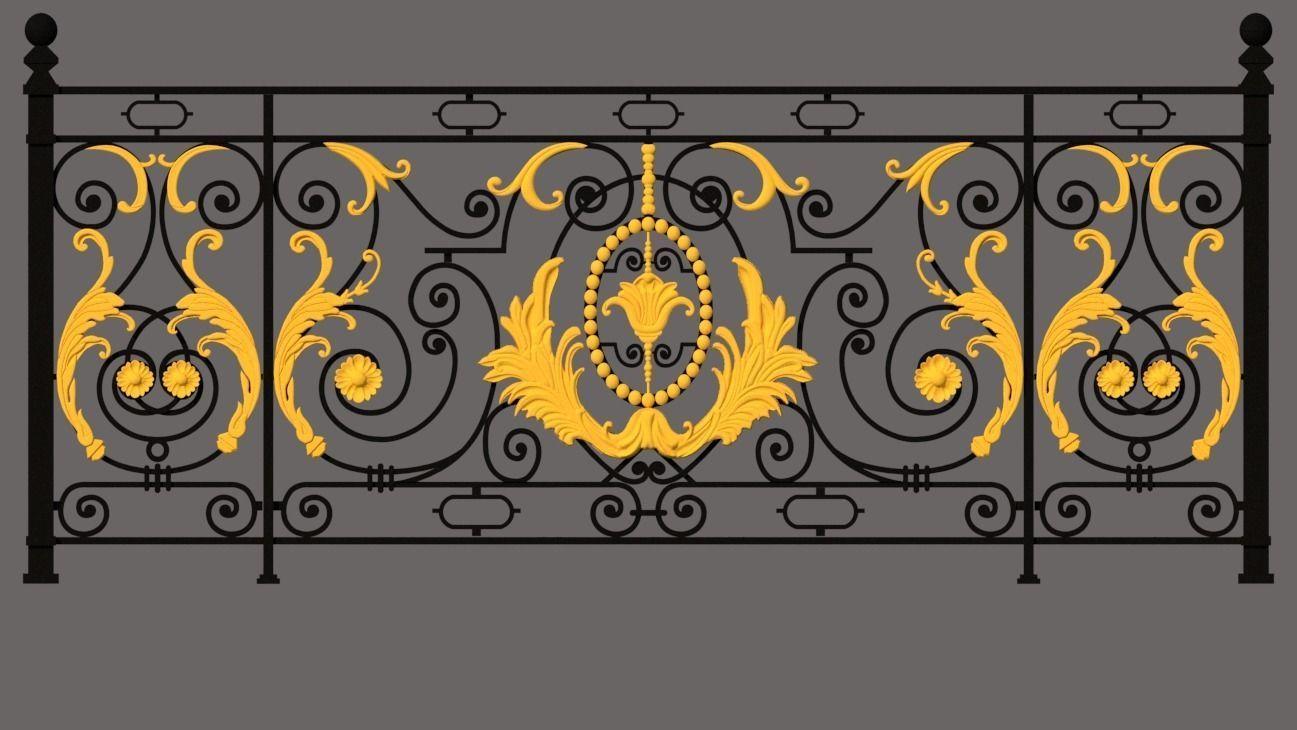 Iron balcony art vintage pattern exterior luxury home decoration