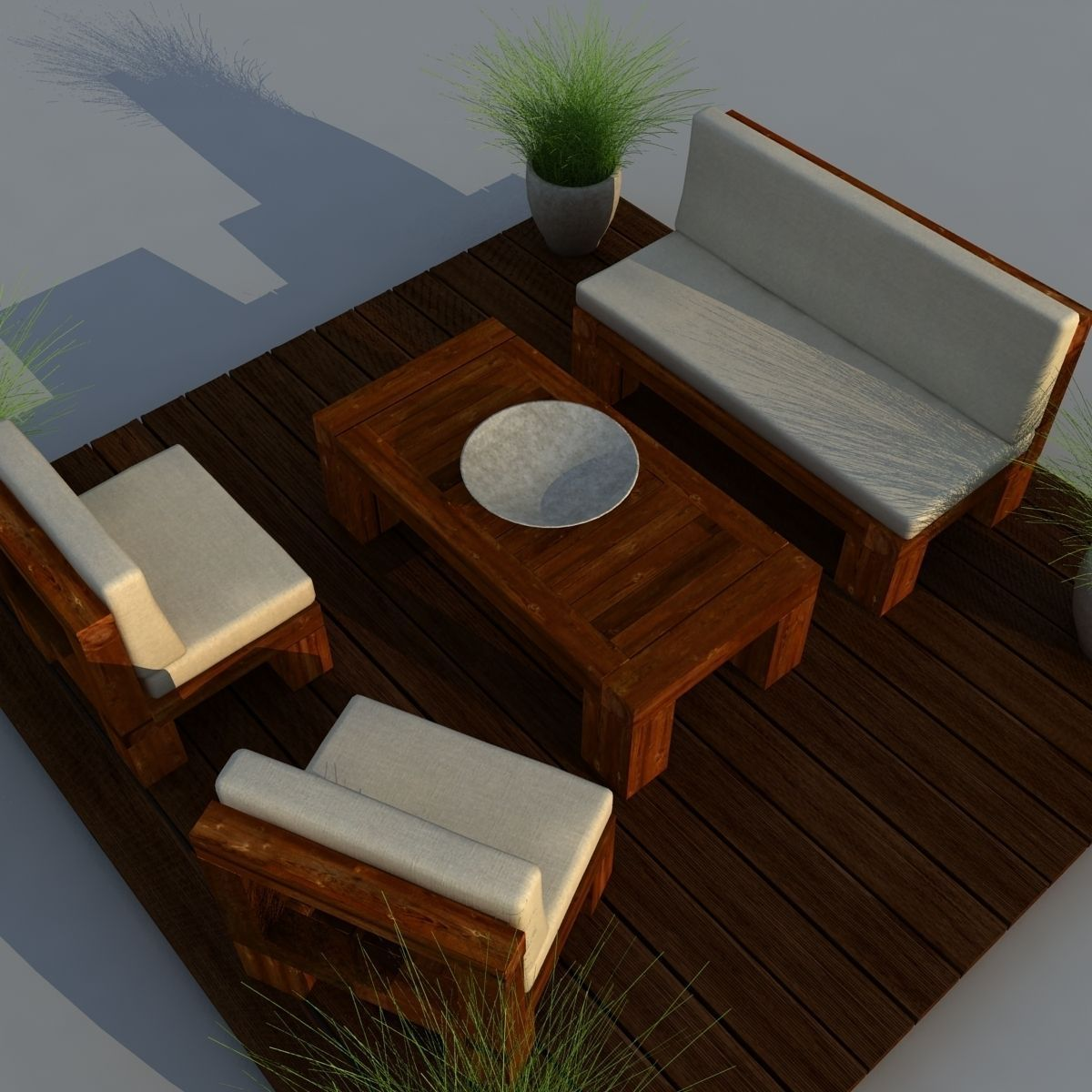 Lounge chair outdoor wood patio deck 3d model obj mtl cgtrader com -  Patio Furniture 3d Model Max Obj 3ds Fbx Mtl 7