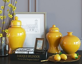 3D Decoration set yellow vases