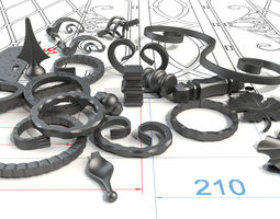 Wrought iron elements 3D model