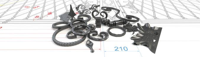 wrought iron elements 3d model sldprt sldasm slddrw 1
