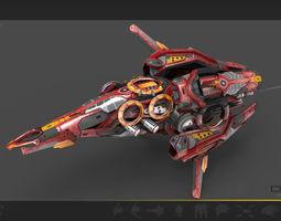 drone v8 red manga 3d model low-poly max obj 3ds fbx