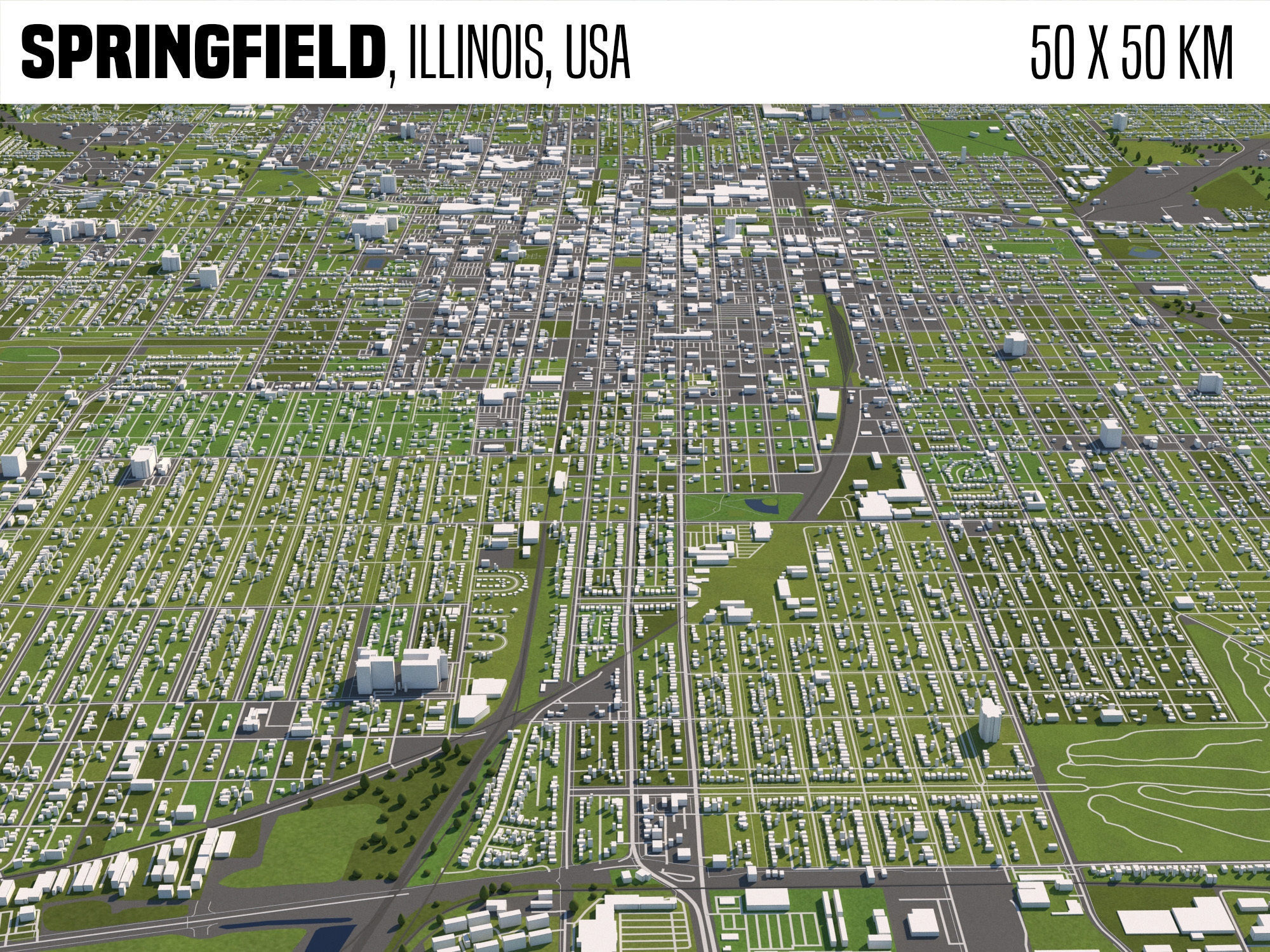 Springfield Illinois USA 50x50km